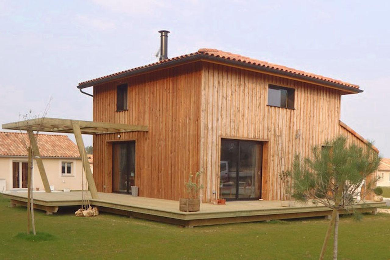 Construction en bois maison ossature bois extension bardage - Agrandissement ossature bois prix ...